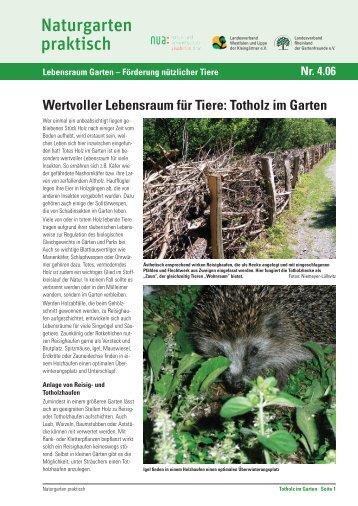 Wertvoller Lebensraum für Tiere: Totholz im Garten - und ...