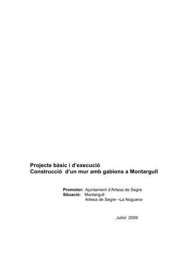 Projecte bàsic i d'execució Construcció d'un mur amb gabions a ...