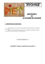 DIÉTÉTIQUe eT Le PLAISIR De MANGeR - Ville de Yzeure
