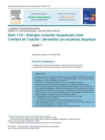 Item 114 – Allergies cutanéo-muqueuses chez l'enfant et l'adulte ...