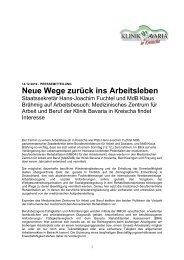 Neue Wege zurück ins Arbeitsleben - Klinik Bavaria