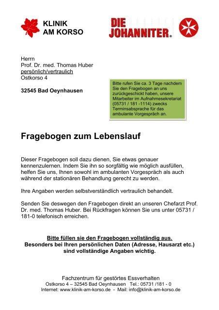 Fragebogen Zum Lebenslaufpdf Klinik Am Korso Ggmbh