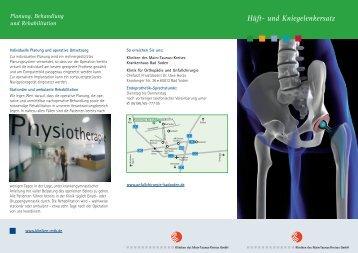 """Unser Patienten-Flyer """"Hüft- und Kniegelenkersatz"""" - Kliniken des MTK"""