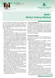 MSM – Methyl Sulfonyl Methan - Klinik St. Georg