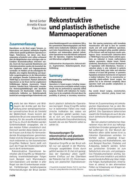 Rekonstruktive und plastisch ästhetische Mammaoperationen