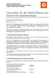 Curriculum für die Weiterbildung zum Facharzt für Anästhesiologie