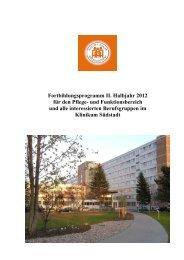 Fortbildungsplanung 2. Halbjahr 2012 (als PDF-Datei) - Klinikum ...