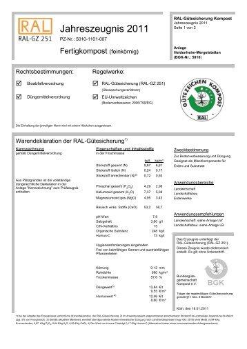 Jahreszeugnis 2011 - Kreisabfallwirtschaftsbetrieb