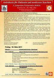6. Symposium Perioperative Medizin - Klinikum Südstadt Rostock