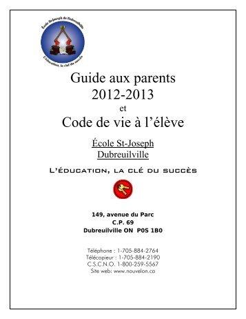 Guide aux parents 2012-2013 Code de vie à l'élève - cscno