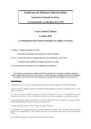 Conférence de Mme Catherine Klein, Inspectrice Générale de Lettres