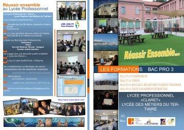 LES FORMATIONS BAC PRO 3 - Lycée CLARET