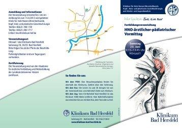 Wir laden Sie ein zur - Klinikum Bad Hersfeld GmbH