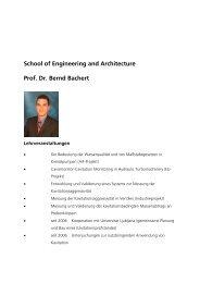 School of Engineering and Architecture Prof. Dr. Bernd Bachert