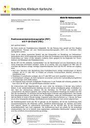 PET / CT mit F-18-Cholin (FEC) - Städtisches Klinikum Karlsruhe
