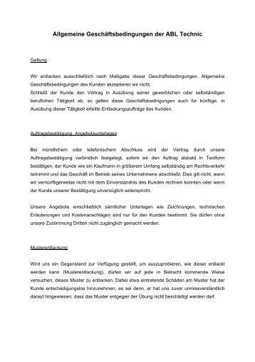 Allgemeine Geschäftsbedingungen der ABL Technic