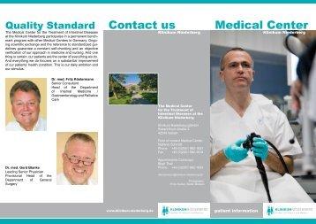 Contact us Medical Center - Klinikum Niederberg