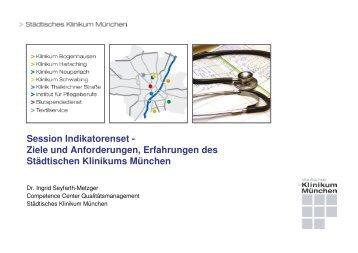 Session Indikatorenset - Ziele und Anforderungen, Erfahrungen des ...