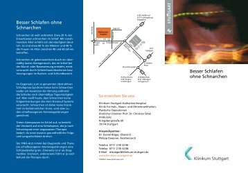 Besser Schlafen ohne Schnarchen Besser ... - Klinikum Stuttgart