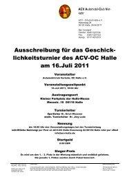 Ausschreibung für das Geschick- lichkeitsturnier des ACV-OC Halle ...