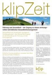 Führung und Gesundheit - klip AG für Unternehmensentwicklung