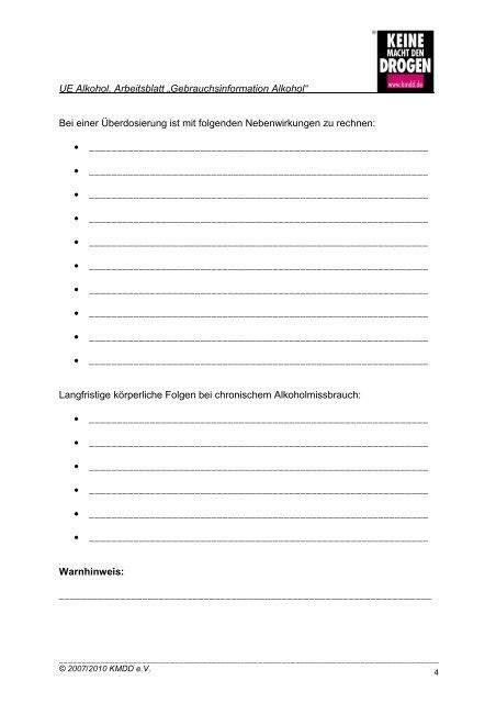 """Arbeitsblatt """"Gebrauchsinformation Alkohol"""""""