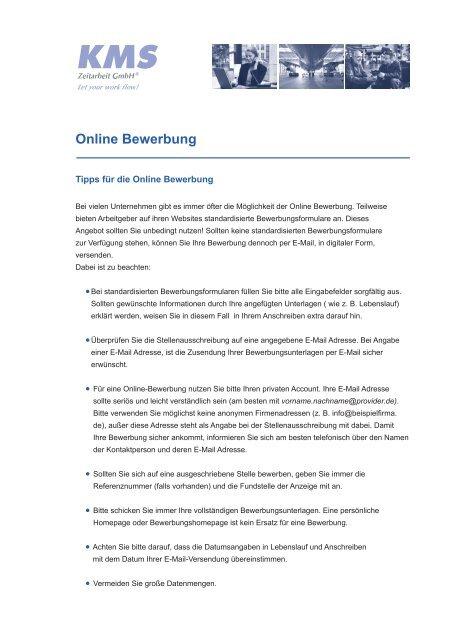 Online Bewerbung Kms Zeitarbeit Gmbh