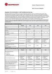 Angaben für die Aufnahme in die Familienversicherung - Knappschaft