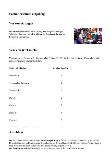 Fachoberschule Einjährig Voraussetzungen Knobelsdorff Schule