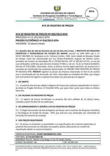 ATA DE REGISTRO DE PREÇOS ATA DE REGISTRO DE PREÇOS ...