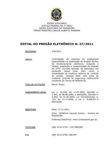 edital do pregão eletrônico n. 27/2011 - Justiça Federal