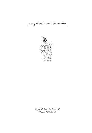 nasqué del cant i de la lira - Papers de Versàlia