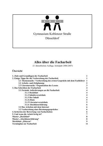 Alles über die Facharbeit - Gymnasium Koblenzer Straße