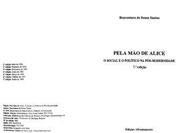 Pela Mão de Alice - O Social e o Político na Pós ... - José Norberto
