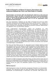 Kofler & Kompanie und Rosen und Urseanu übernehmen den ...