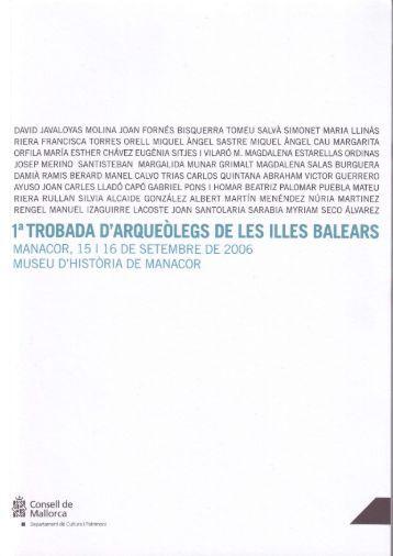 1'TROBADA D'AROUEOLEGS DE LES ILLES BALEARS - Secció ...