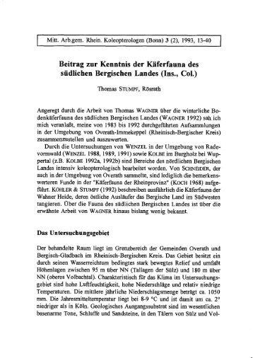 Beitrag zur Kenntnis der Käferfauna des südlichen Bergischen Landes