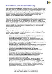 Sinn und Zweck der Testamentsvollstreckung - Wirtschaftsanalyse ...