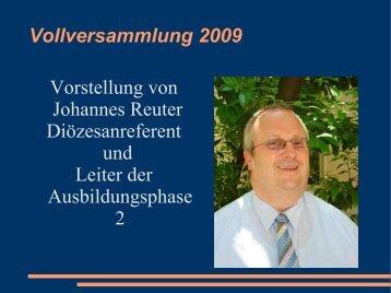 Eigene Vorstellung von Johannes Reuter bei der Vollversammlung