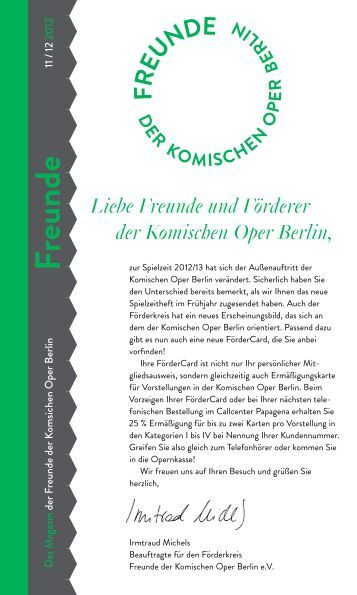 Magazin Freunde 11/12 2012 - Komische Oper Berlin