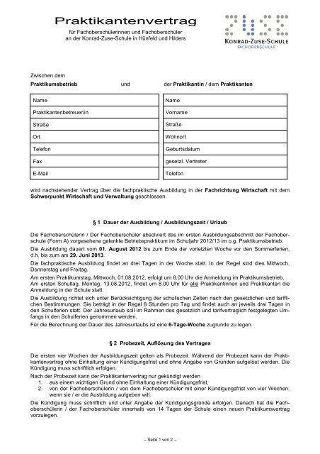 Praktikumsvertrag Konrad Zuse Schule
