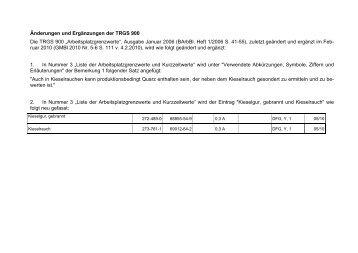 Änderungen und Ergänzungen der TRGS 900 ...