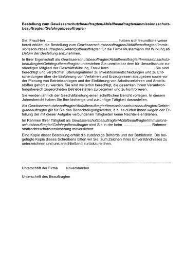 Muster Bestellung Zumzur Beauftragten Für Die Umsetzung Der