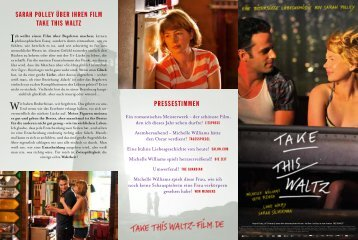 SARAH POLLEY ÜBER IHREN FILM TAKE THIS WALTZ ... - Kool Film