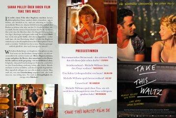 SARAH POLLEY ÜBER IHREN FILM TAKE THIS WALTZ ... - Kool Film