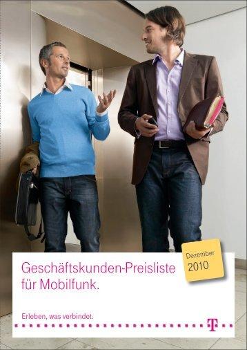 Geschäftskunden-Preisliste für Mobilfunk. - Telekom