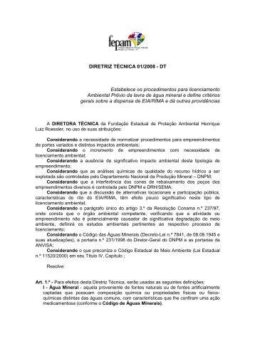 Diretriz Técnica n.º 001/2008 - Fepam