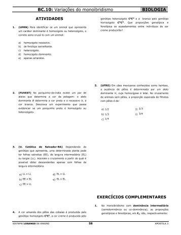 BC.10: Variações do monoibridismo BIOLOGIA - Biologianoenem