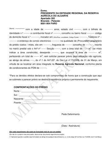 Requerimento a Entidade Regional de Reserva ... - DRAP Algarve