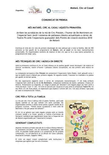 Mataró, Circ al Casal! - CoNCA Consell Nacional de la Cultura i les ...